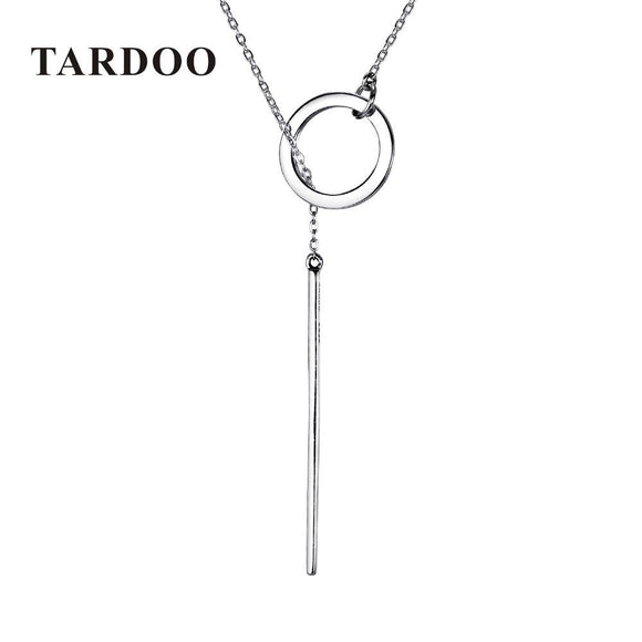 Tardoo 925 Sterling Silver Long Pendant Line Round Necklace Simple and Romantic Style Fine Jewelry New Year Gift for Women