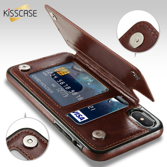 KISSCASE Retro PU Leather Case For iPhone 8 Plus Card Slot Holder Cover For iPhone X 8 7 6 6s Plus Luxury Protective Back Fundas