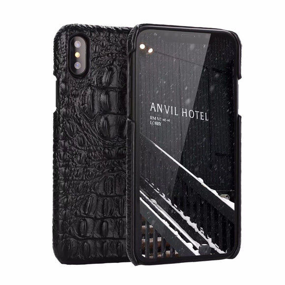 OUJINUO Luxury Genuine Leather Crocodile Pattern Back Cover For Apple iPhone X Leather Crocodile Case Luxury Phone Cases Bags