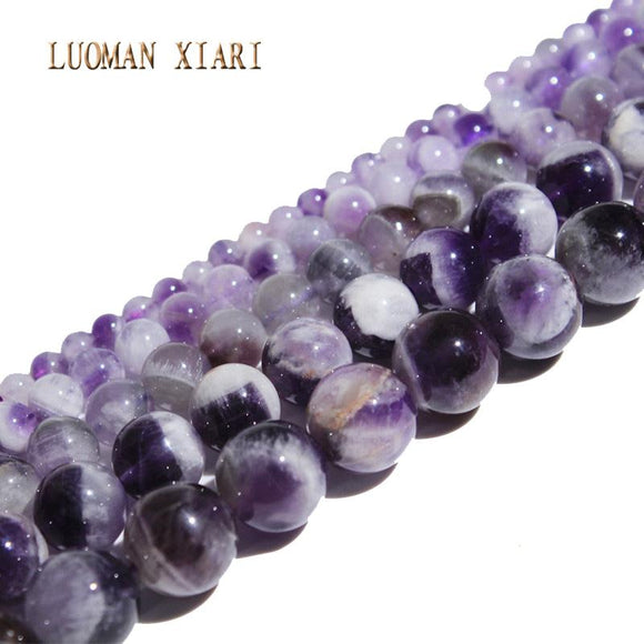 LUOMAN XIARI AAA+ Round Natural Amethyst Stone Beads For Jewelry Making DIY Bracelet Necklace Material 4/ 6/8/10mm Strand 15''