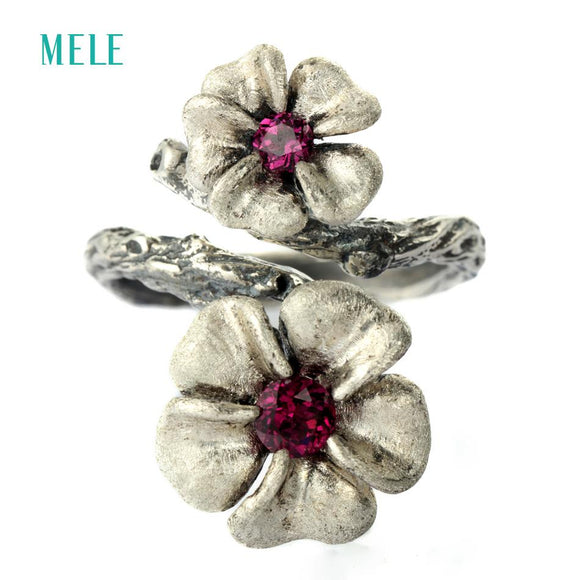 MELE Natural garnet silver ring, 13mm and 10mm for flowers size, full stone cutting fire, more beautiful than pictures showed