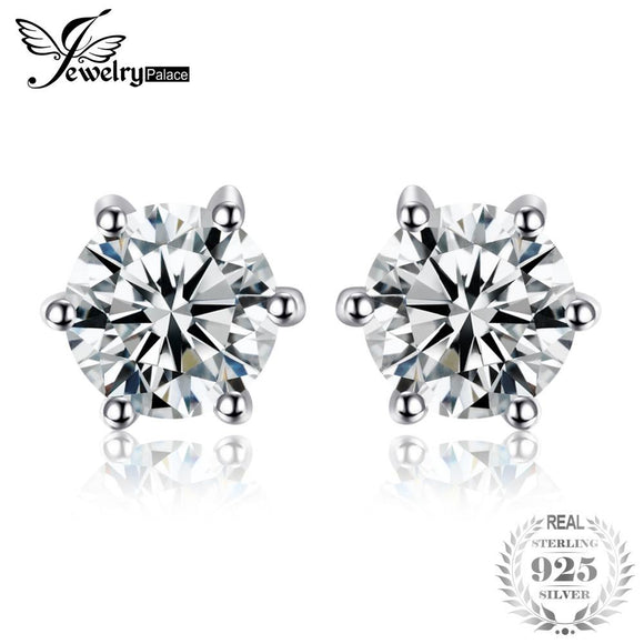 JewelryPalace Round 1.2ct Natural White Topaz Earrings Stud Solid 925 Sterling Silver Anniversary Jewelry New Arrival Nice Gift
