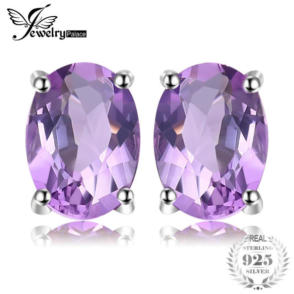 JewelryPalace Oval 1.4ct Natural Purple Amethyst Birthstone Stud Earrings Pure 925 Sterling Silver Fine Jewelry For Women