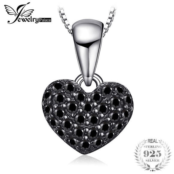 JewelryPalace Fashion 0.28ct Natural Black Spinel Love Heart Pendants For Women Solid 925 Sterling Silver Jewelry Without Chain