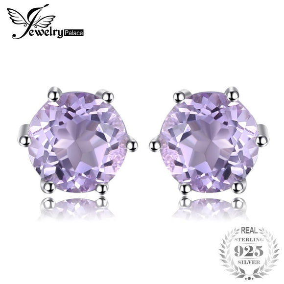 Round 1ct Gemstone Natural Amethyst Citrine Garnet Peridot Blue Topaz Stud Earrings 925 Sterling Silver Fine Jewelry Hot Selling