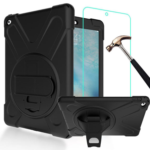 3 IN 1 Hybrid PC+Silicone Heavy Duty Rugged Stand Cover Shockproof Full-body Protective Case For iPad Air 2 9.7inch