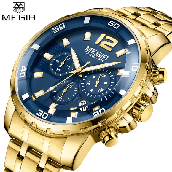 New style MEGIR Quartz Men Watch Top Brand Luxury Military Sport Quartz Watches Clock Men Relogio Masculino Business Chronograph