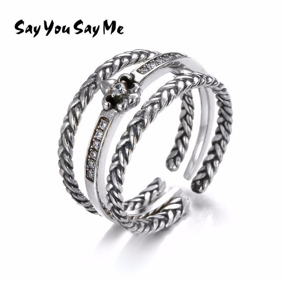 3 PCS 925 Sterling Silver Trendy Finger Couple Rings Say You Say Me Sets Royal Vintage Weave Type Zircon Flower Rings Jewelry