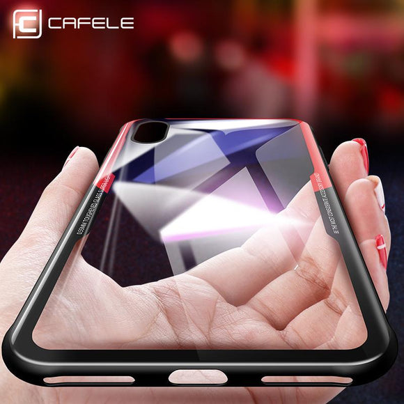 CAFELE Original Phones Cases For iPhone X 10 Case soft TPU + Ultra Thin Transparent Glass Back Cover For Apple iPhones X 10 Case