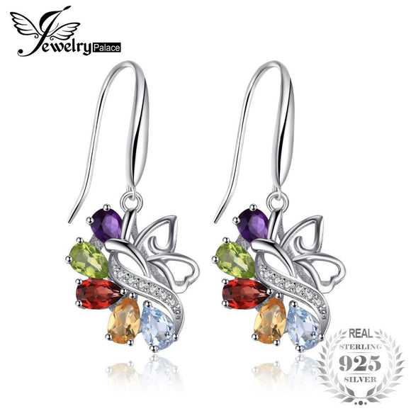 JewelryPalace Butterfly 4.8ct Genuine Amethyst Citrine Garnet Peridot Sky Blue Topaz Dangle Earrings 925 Sterling Silver Earring