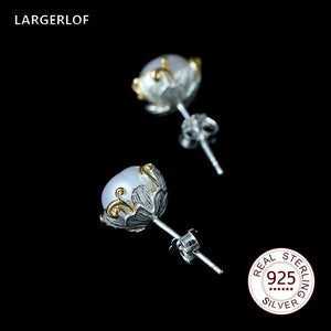LARGERLOF Pearl Earrings 925 Sterling Silver Earrings Fashion Stud Earring Women ED10245