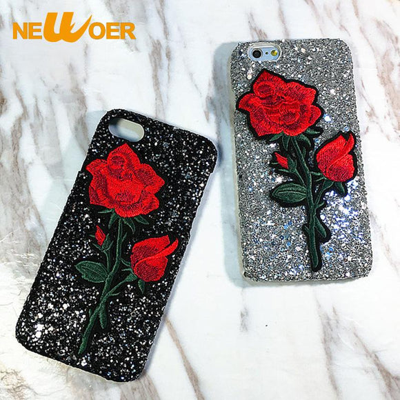 Embroidery Rose Case For iphone 7 Glitter Case New Mobile Phone Shell Chinese Style NEWOER