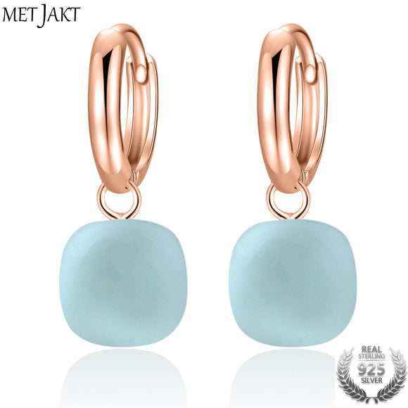 MetJakt Casual Natural Sky Blue Agate Earrings Solid 925 Sterling Silver and Rose Gold Color Earring for Wedding for Women Gift