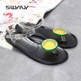 SWYIVY Woman Sandals Flip Flop Fruit Anti Slip Woman Flat Casual Shoes Jelly Sandals 40 Big Size Lady Leisure Beach Sandals PVC