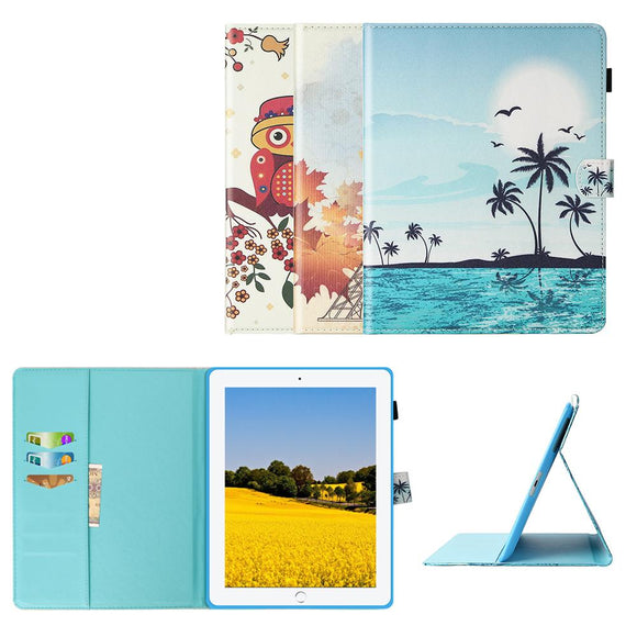Case For Apple iPad 4 iPad 3 iPad 2 PU Leather Art Printed Folio Smart Cover Stand Wallet Case Auto Sleep Wake Function Cover