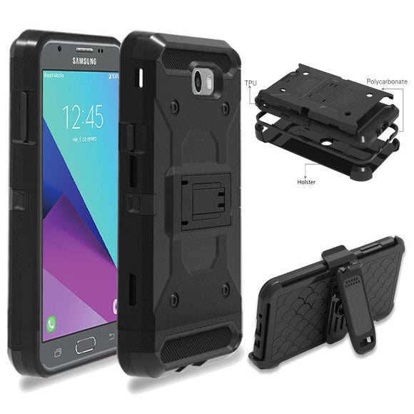 Heavy Duty Armor Case Belt Clip Holster Cover For Samsung Galaxy J3 Emerge/J3 2017/Prime/Express Prime 2/Amp 2/Eclipse/Luna Pro