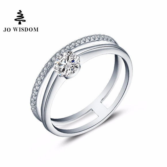 JO WISDOM Silver 925 Rings Fine jewelry Ring Female Rings with Natural Stone Wedding Bands Rings