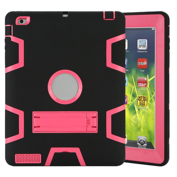 Tablet Case for Apple iPad 2 3 4 Extreme Heavy Anti-Dust Shockproof Rubber Cover with Stand  360 Full Protect Stand Case