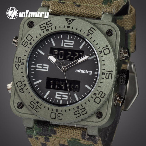INFANTRY Men Luxury Quartz Watches Camo Dual Time Analog Digital Sports Watch Military Army Waterproof Chronograph Male Clocks