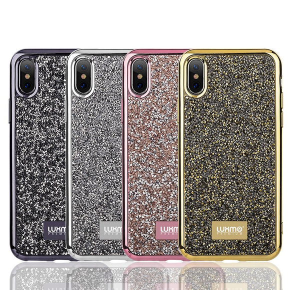LUXMO Diamond Phone Case for iPhone X Back Hard PC TPU Cover Case Capa for 4.7 inch Ayfon Diamond Rock Crystal Case Fundas Coque