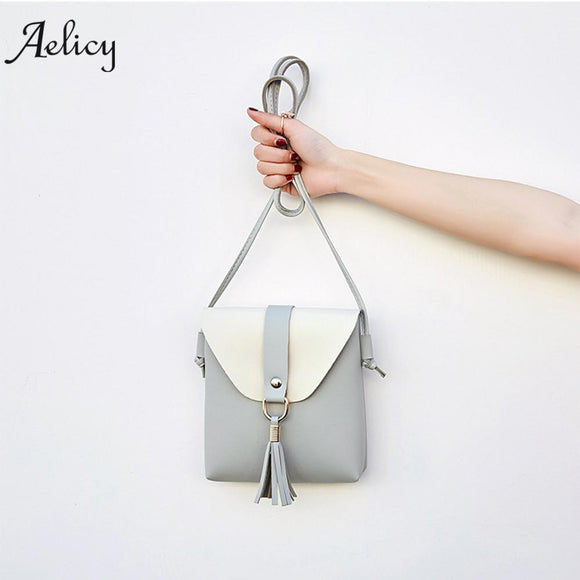 Aelicy Fashion Women Hit Color Tassels Crossbody Bag Shoulder Bag Phone Coin Bag PU Leather Patchwork Woman Casual Tote Bags