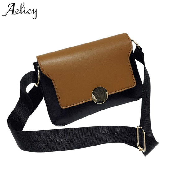 Aelicy 2018 Women Hit Color Messenger Bag Female Simlple PU Leather Shoulder Crossbody Bags Ladies Small Messenger Bag for Girls