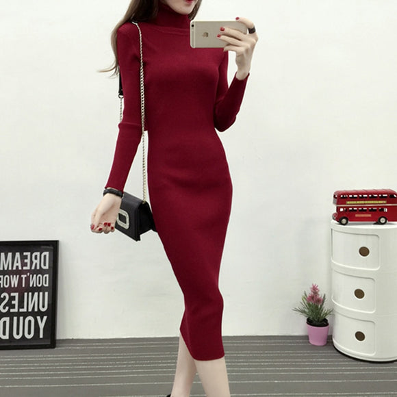 Long Turtleneck Sweater Dress Warm Women 2018 Autumn Winter Long Sleeve Sheath Pullovers Warm Knitted Sweater Dress Elastic
