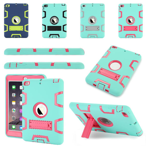 TKOOFN Tablet Case for ipad mini 1 2 3 Extreme Heavy Duty Drop Resistance Shockproof Rubber Cover Kids Safe Stand for ipad
