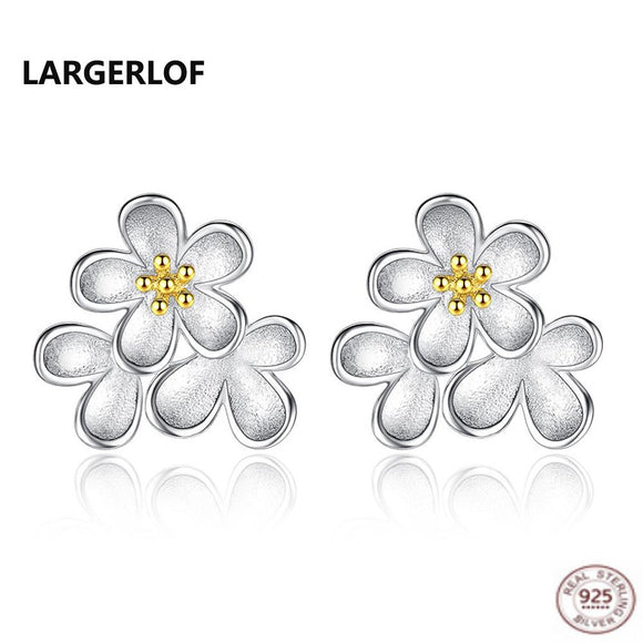 LARGERLOF Rearl 925 Sterling Silver Earrings Fashion Women jewerly Flower Earrings ED3012