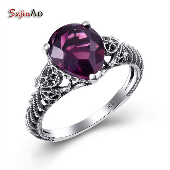 Szjinao Alibaba-express Water Drop Amethyst Love Rings For Women Wedding Gift Vintage Real 925 sterling-silver-jewelry