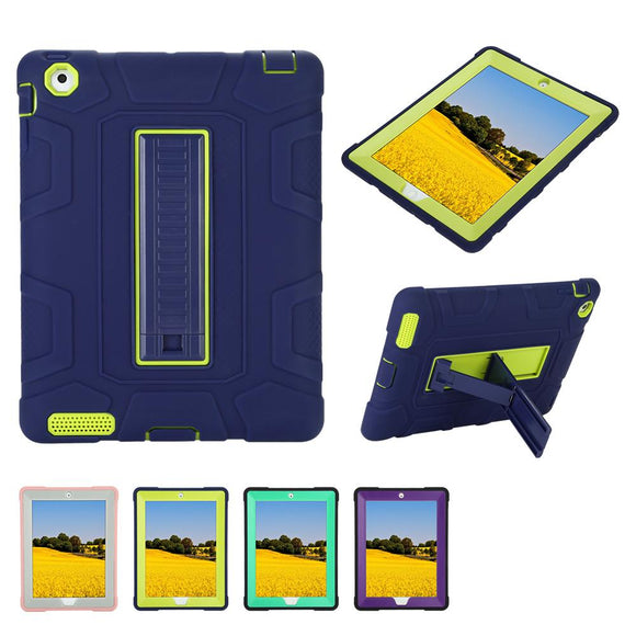 Case for iPad Hybrid Kids Protective Shockproof Heavy Duty Hard Case Cover Stand for Apple iPad 2 iPad 3rd Generation iPad 4