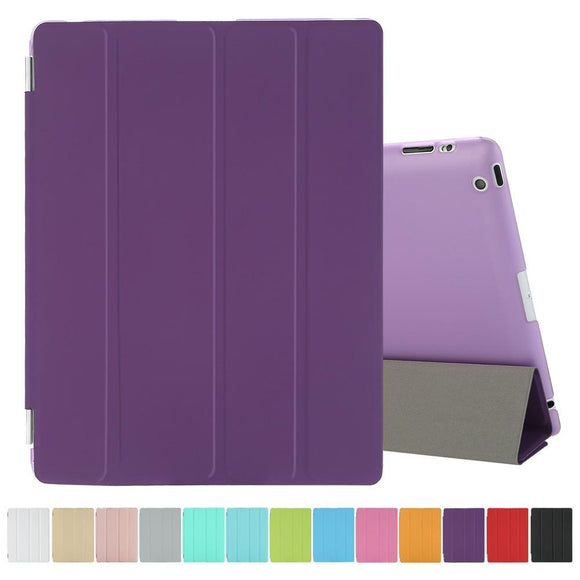 Case for iPad 2/3/4 Ultra Thin PU Leather Magnetic Smart Cover Auto Sleep/Wake Front Cover + Transparent Back Case Free Gift