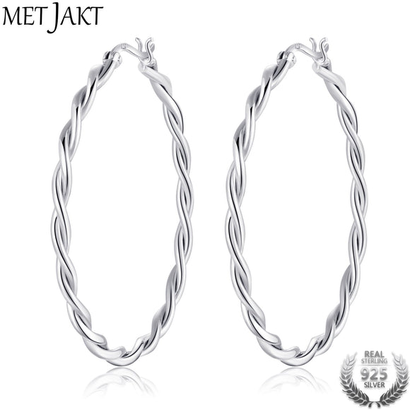 MetJakt Classic Circle Round Huggie Earrings 925 Sterling Silver Silver Circle Earring for Women Best Gift Fashion Jewelry