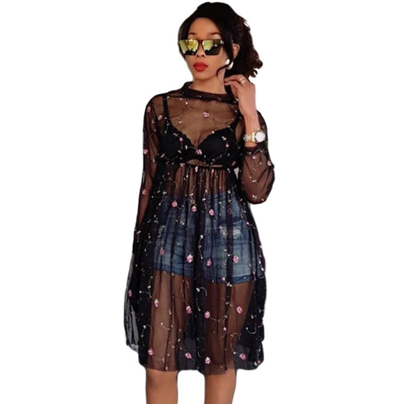 9d98fe7fb63a7 Summer Sexy Women Sheer Mesh Dress Floral Embroidery See Through Dresses  Ladies New Long Sleeve A