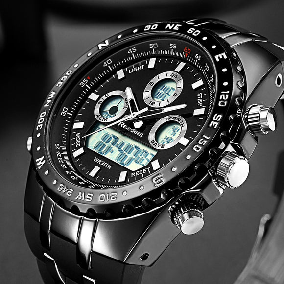 Readeel Top Brand Sport Quartz Wrist Watch Men Military Waterproof Watches LED Digital Watches Men Quartz Wristwatch Clock Male