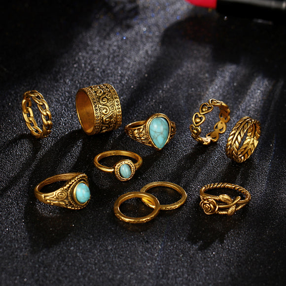 10pcs Boho wedding rings set for women natural stone flower finger above knuckle midi stacking ring female bijoux anel masculino