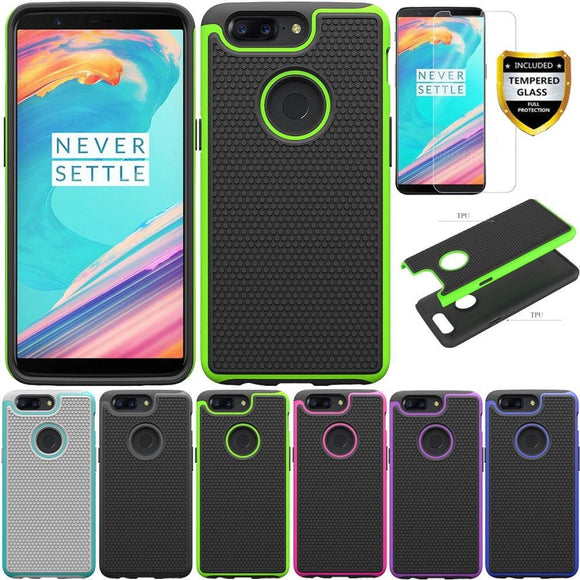 2in1 Heavy Duty Hybrid Rugged Case With Tempered Glass Screen Protector Shockproof Phone Cover For Oneplus 5T Oneplus5t A5010