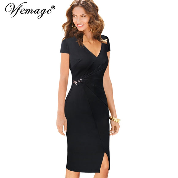 Vfemage Womens Elegant Vintage V Neck Ruched Pleated Split Wear to Work Vestidos Office Business Party Bodycon Sheath Dress 005