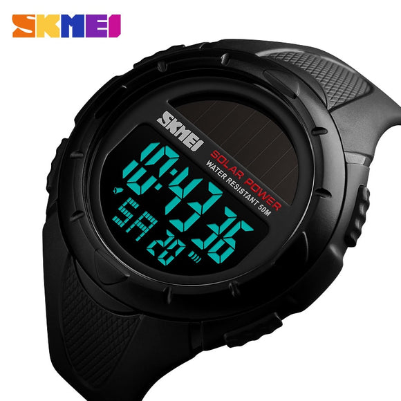 SKMEI Solar Power Men Sports Watches Waterproof LED Digital Watch Men Luxury Brand Electronic Mens Wrist Watch Relogio Masculino