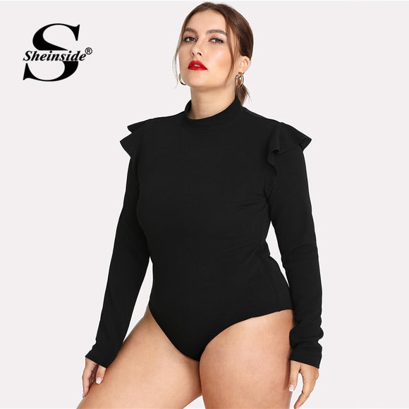 Sheinside Plus Size Plain Black Stand Collar Workwear Bodysuit Office Ladies Long Sleeve Stretch Ruffle Women Autumn Bodysuits