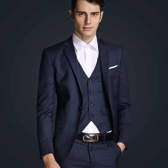 Top Quality 2016 Mens Slim Suits Set 3 Psc Blazer+Vest+Pants Groom Wedding Suits For Men Dress Suit Navy/Red/Grey Jacket