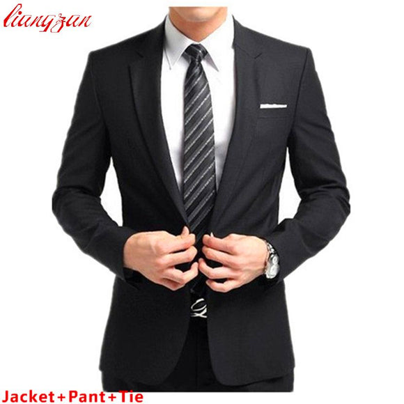 (Jacket+Pant+Tie) Men Buisness Suit Sets Slim Fit Tuxedo Formal Fashion Dress Suits Blazer Brand Cotton Party Wedding Suits