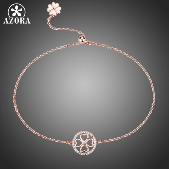 AZORA Small Rose Gold Color Round Flower Adjustable Slide Chain Bracelet Clear Zirconia Bracelet for Lady Charm Present TS0198