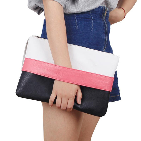 Hot Sale Women Handbag Solid Patchwork Lady Day Clutches Popular Stitching Soft Zipper Packet Fashion Brief Shopping Bag
