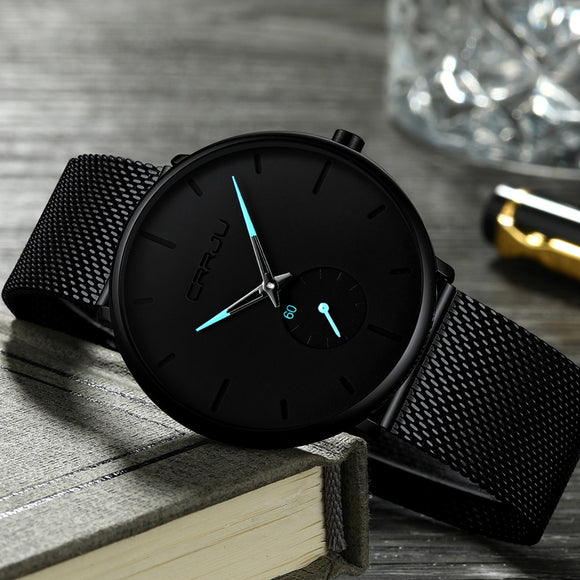 relogio masculino Crrju Watch Men Military Quartz Watch Mens Watches Top Brand Luxury Stainless Steel Sports Wristwatch Clock