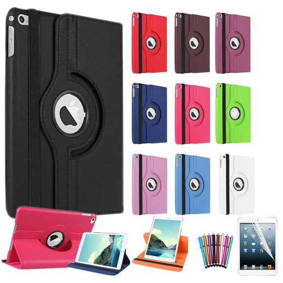 For Apple iPad Mini 4 Cover Case 360 Rotating Smart Cover for Mini iPad PU Leather Protect Case w/Screen Protector+Stylus Pen