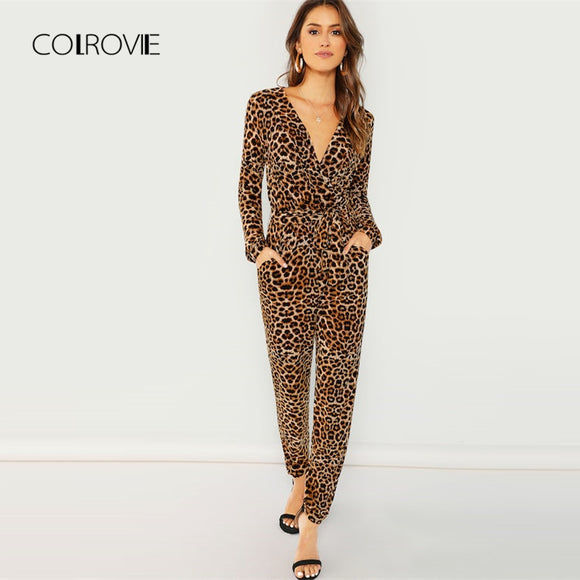 COLROVIE Deep V Leopard Print Belted Wrap Sexy Jumpsuit Women 2018 Autumn Casual Overalls For Women Elegant Female Jumpsuits