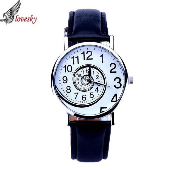 Lovesky 2016 New Brand Fashion Women Watch Luxury Swirl Pattern Leather Analog Quartz Wrist Watches Female Clock relojes mujer
