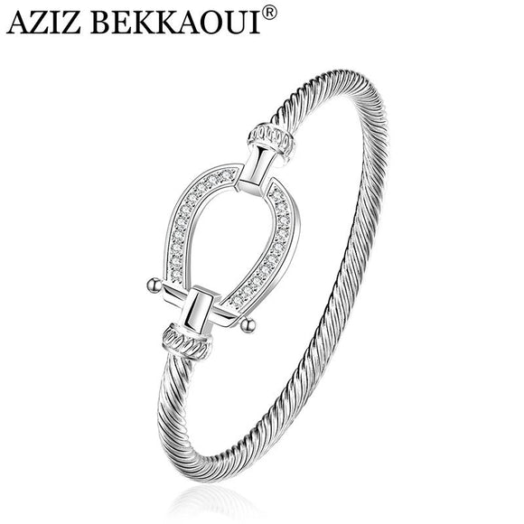Fashion Silver Rhinestone Wrap Cuff Bracelets Horseshoe Bangles For Women Brand Designer Jewelry