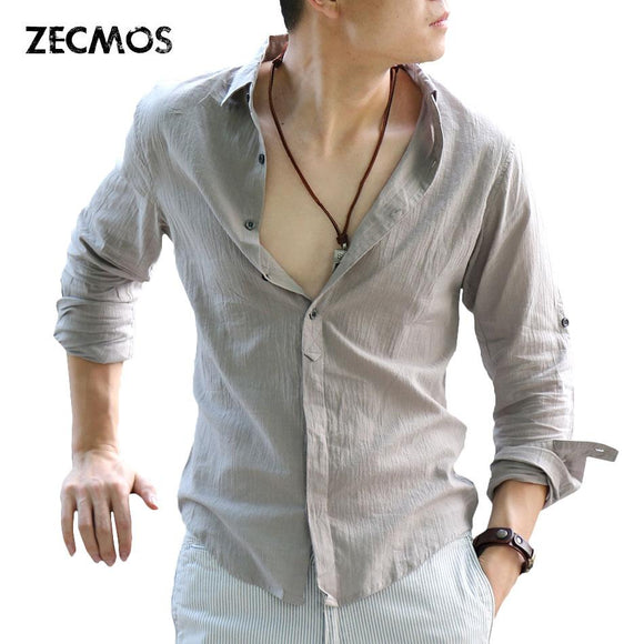 Zecmos Cotton Linen Shirts Man Summer White Shirt Social Gentleman Shirts Men Ultra Thin Casual Shirt British Fashion Clothes